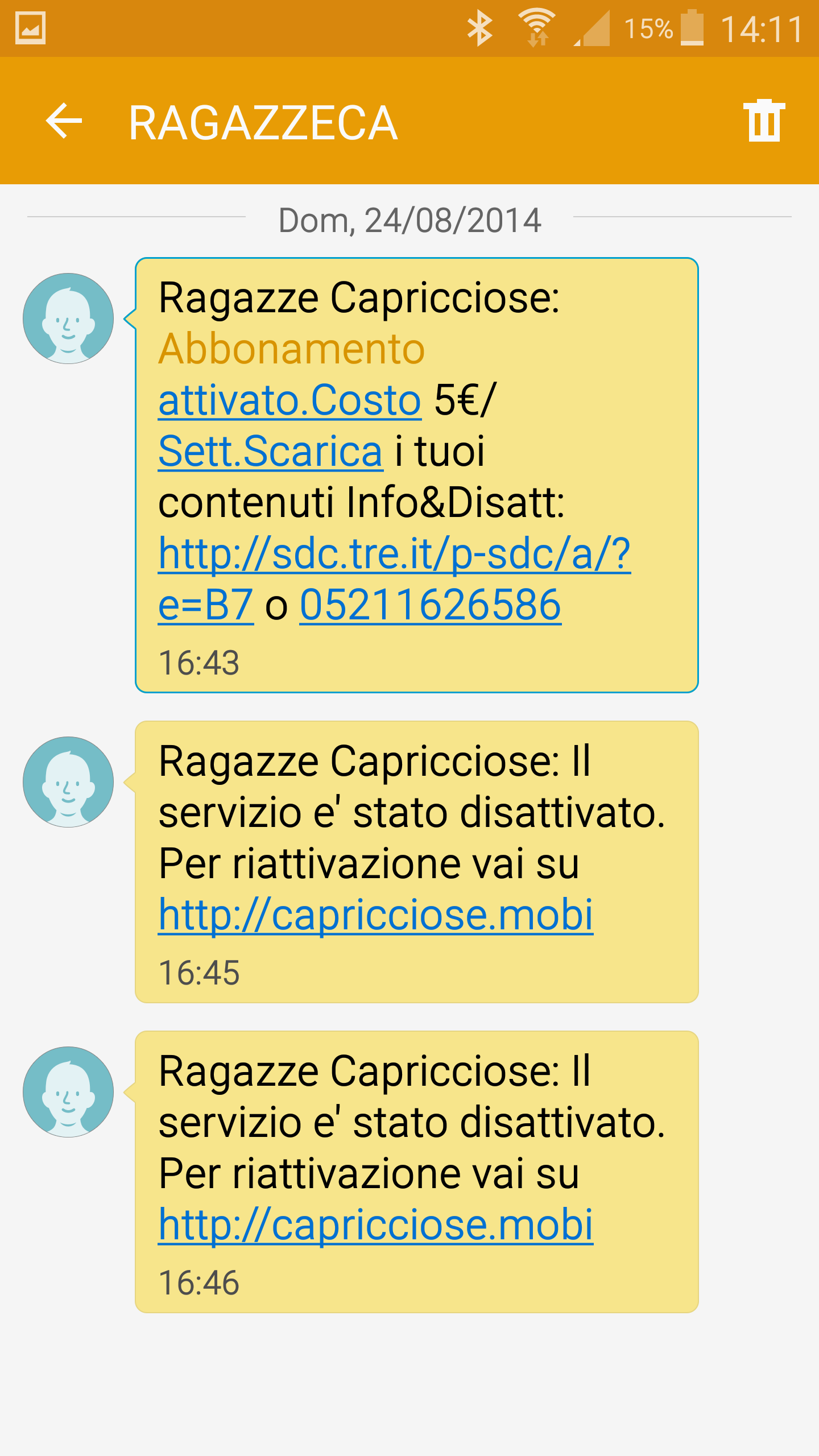 Ragazze Capricciose, h3g three Italy unrequested subscription, 24/08/2014
