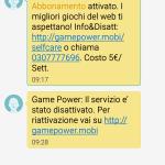 GAMEPOWER, servizio h3g tre non richiesto, 03/09/2014