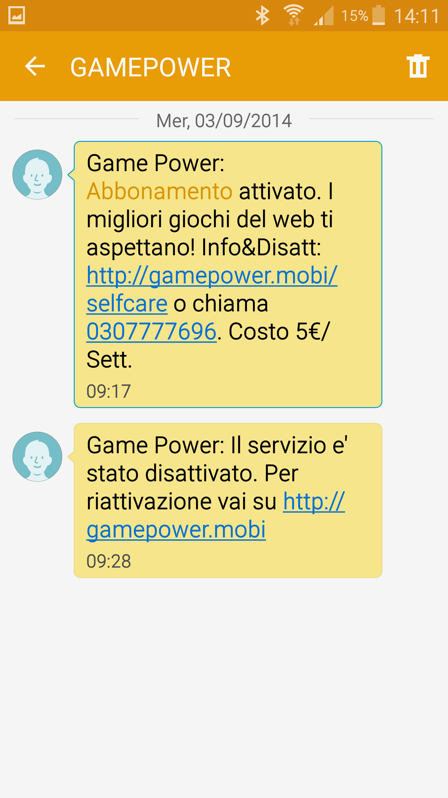 GAMEPOWER, h3g three Italy unrequested subscription, 03/09/2014