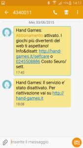 Hand Games, servizio h3g tre non richiesto, 03/06/2015