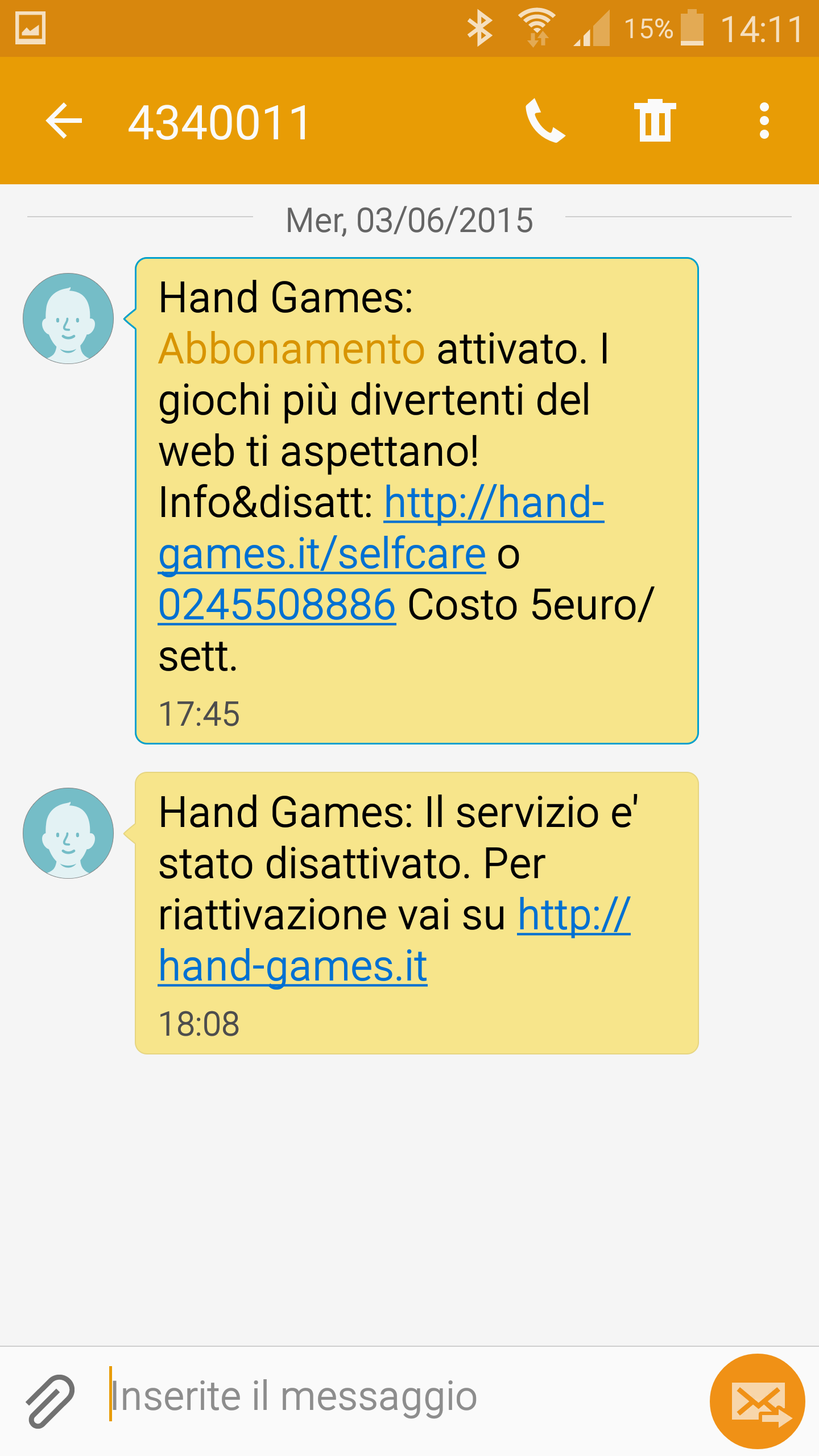 Hand Games, h3g three Italy unrequested subscription, 03/06/2015
