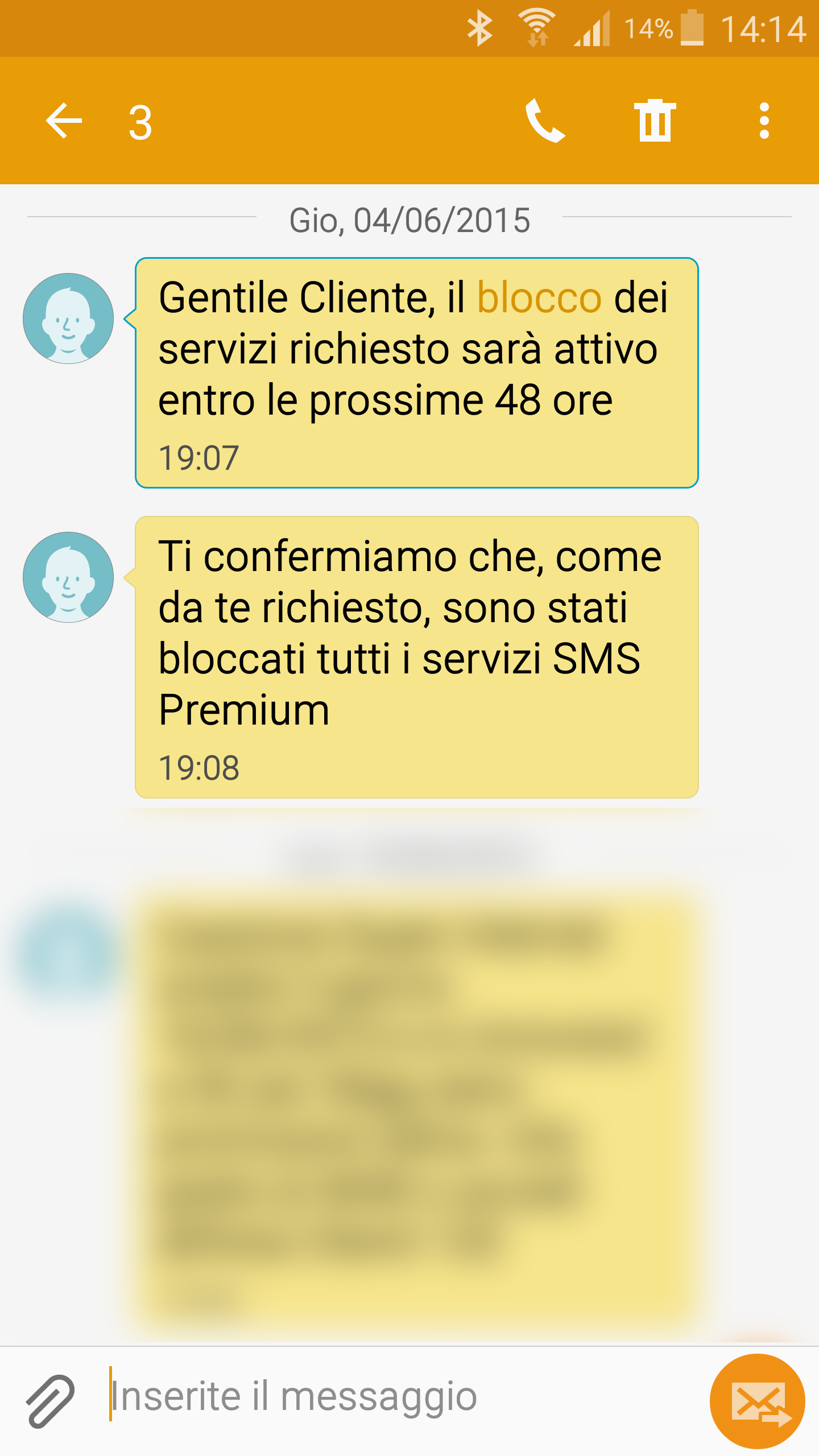 Barring SMS H3G Three Italy, block of premium services and paid text
