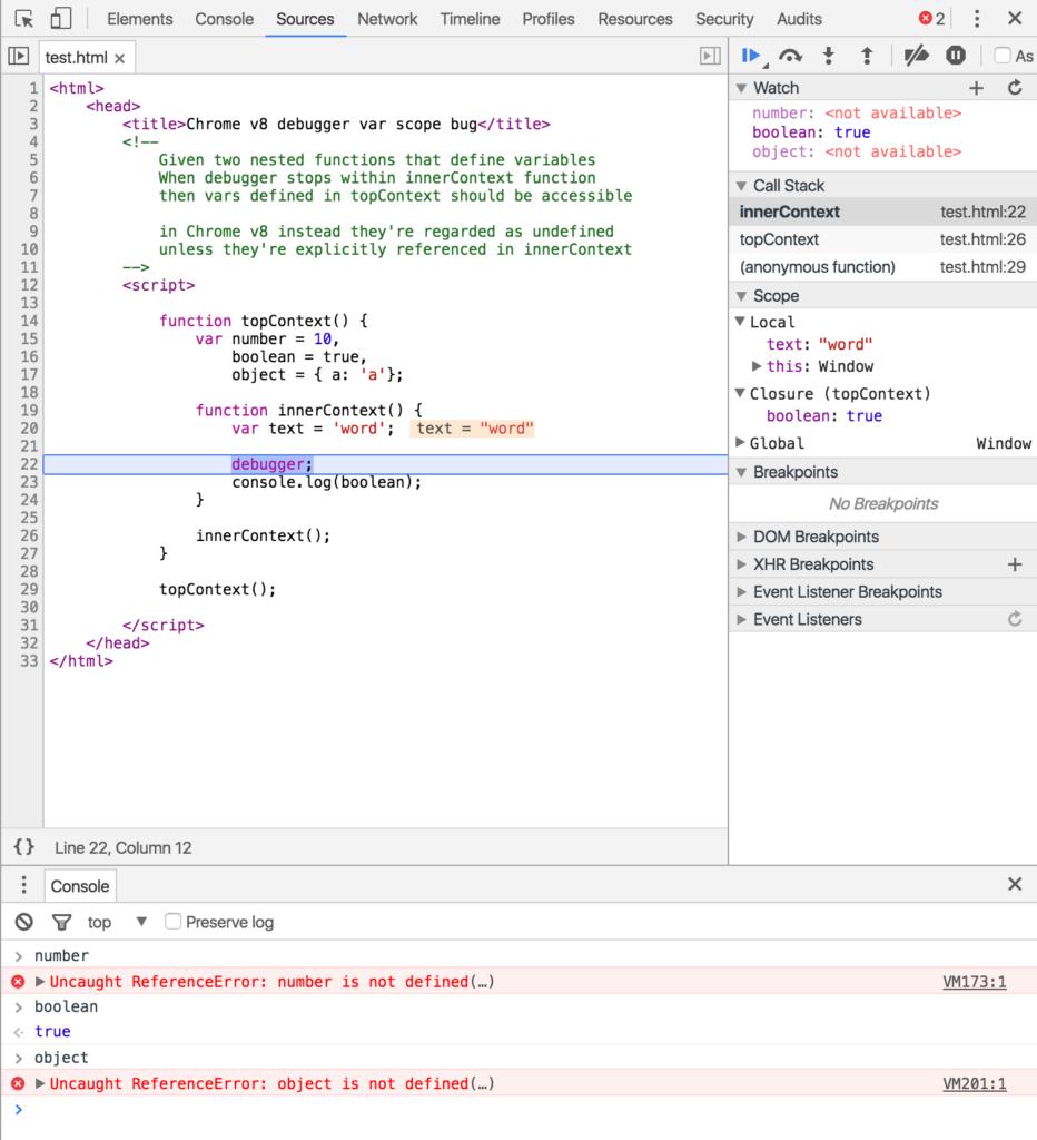 V8 engine Chrome and Opera debugger closure