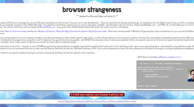 browser strangeness aka la miniera d'oro degli hack CSS